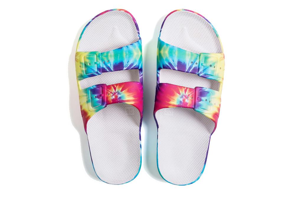 Freedom Moses, Hendrix slide, tie dye sandal