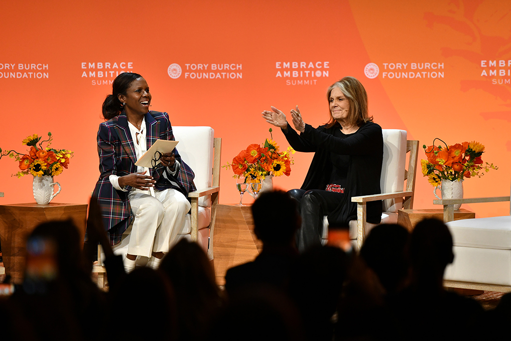 NEW YORK, NEW YORK - MARCH 05: Deborah Roberts, ABC News Correspondent and Gloria Steinem, Feminist and Activist speak onstage during the 2020 Embrace Ambition Summit by the Tory Burch Foundation at Jazz at Lincoln Center on March 05, 2020 in New York City. (Photo by Craig Barritt/Getty Images for Tory Burch Foundation)