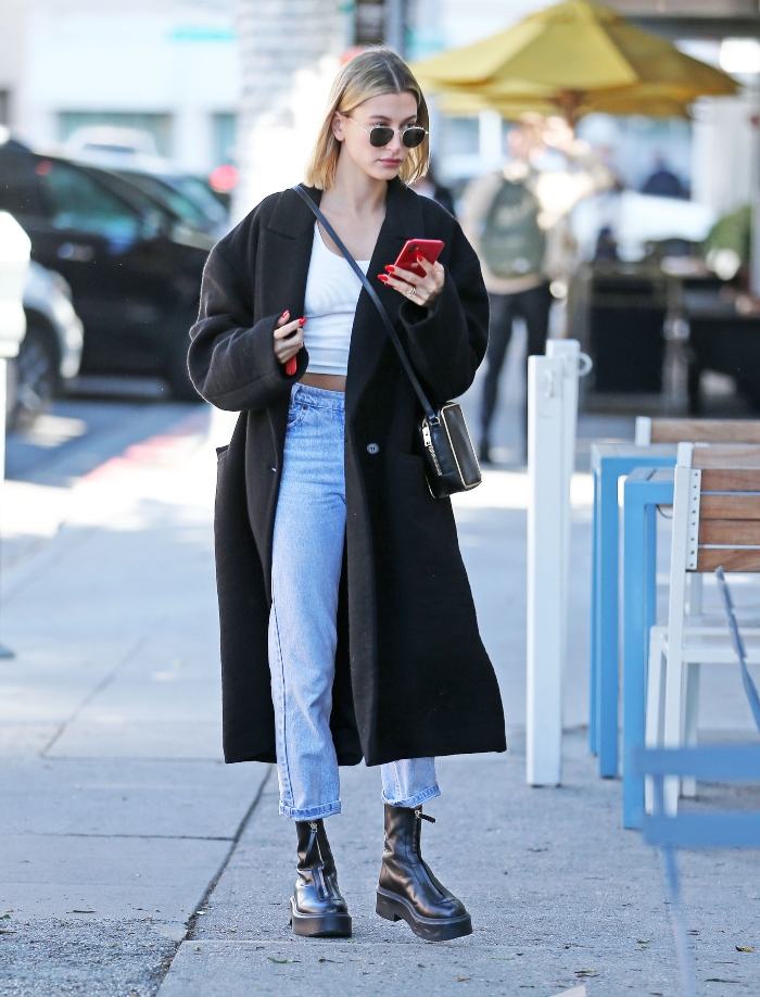hailey baldwin, the row, los angeles, black coat, white shirt, jeans