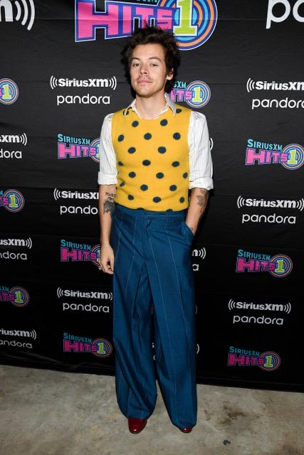 harry styles, lanvin, yellow top, blue pants, red shoes, siriusxm