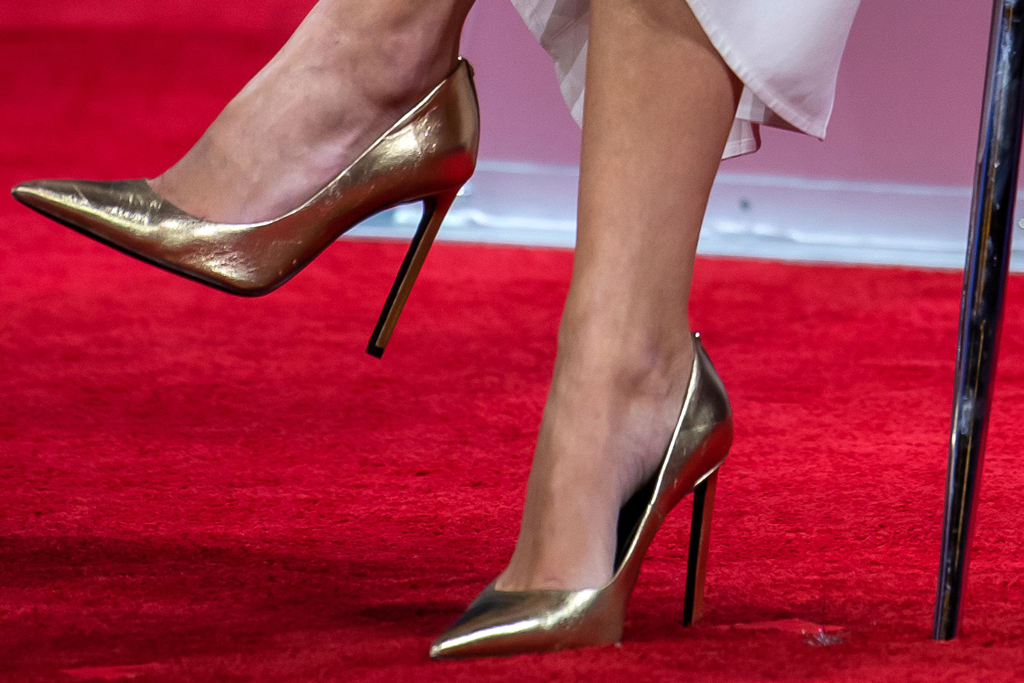 Ivanka Trump, february 2020, gold pumps, high heels, stilettos, cpac, celebrity style