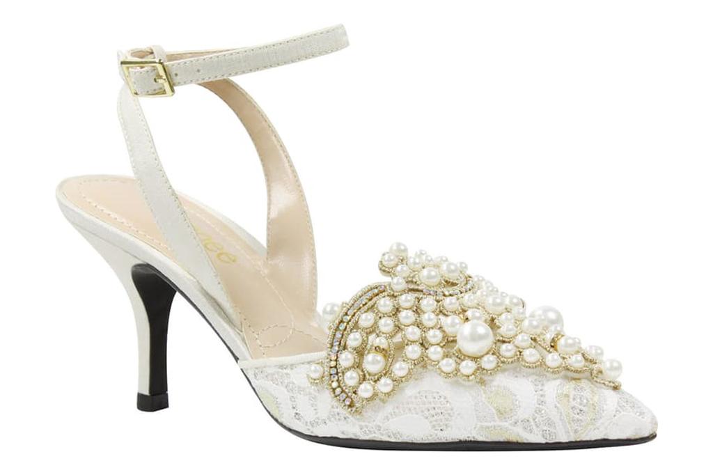 J Renee, white lace heels