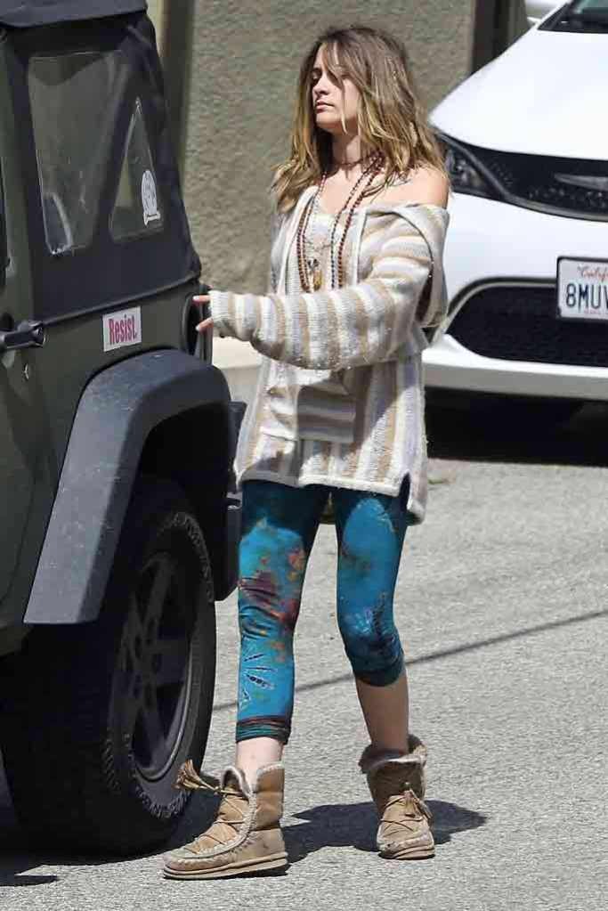 Paris Jackson, celebrity fashion, street style, tie-dye leggings, cropped leggings, drug rug, hoodie, los angeles, shearling boots