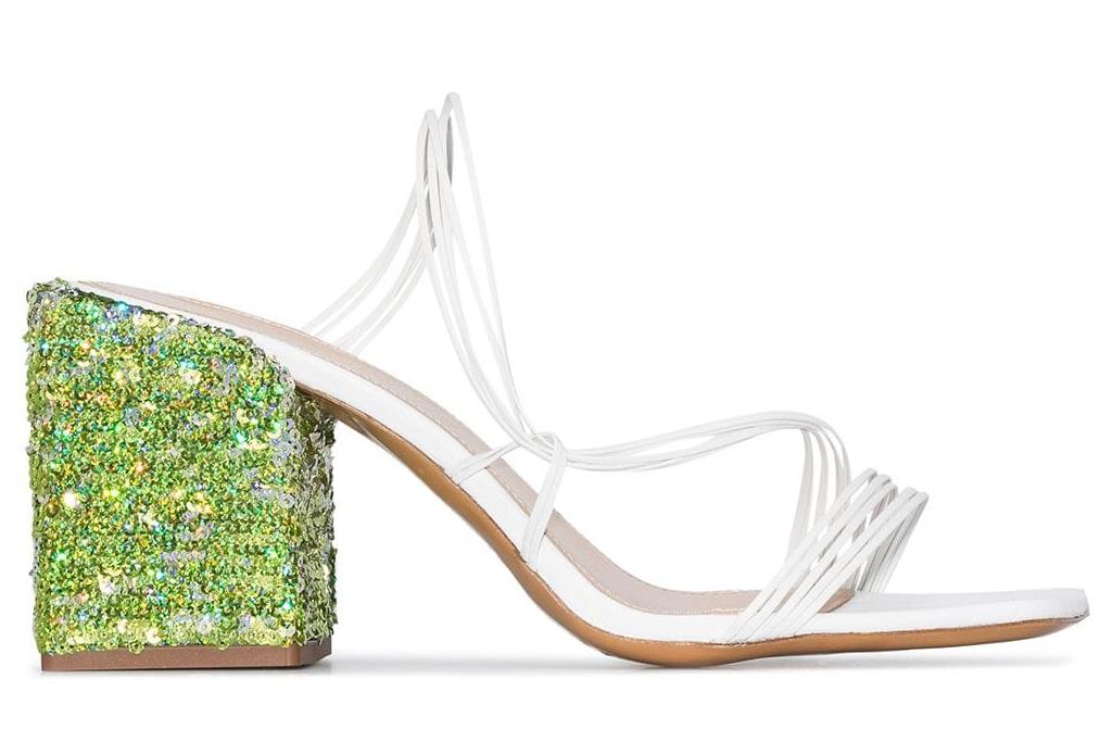 jacquemus, green, white, sandals, glitter