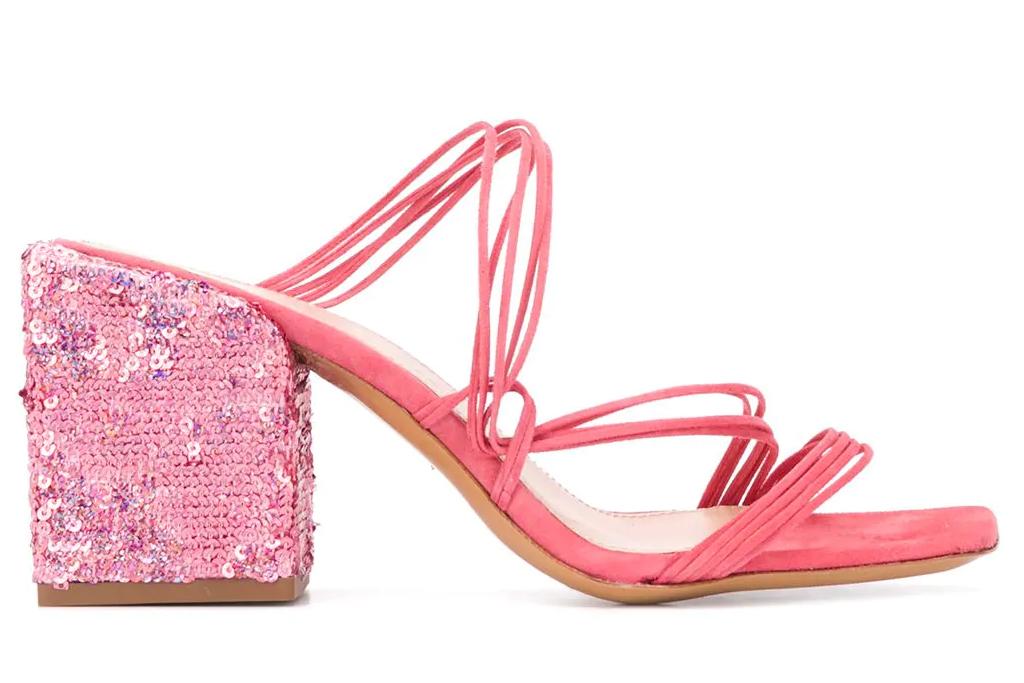 jacquemus, pink sandals, glitter