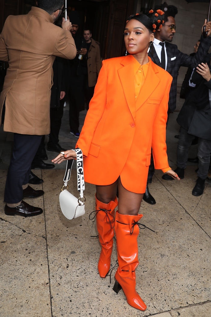janelle monae, stella mccartney, orange, orange boots, purse, paris, pfw
