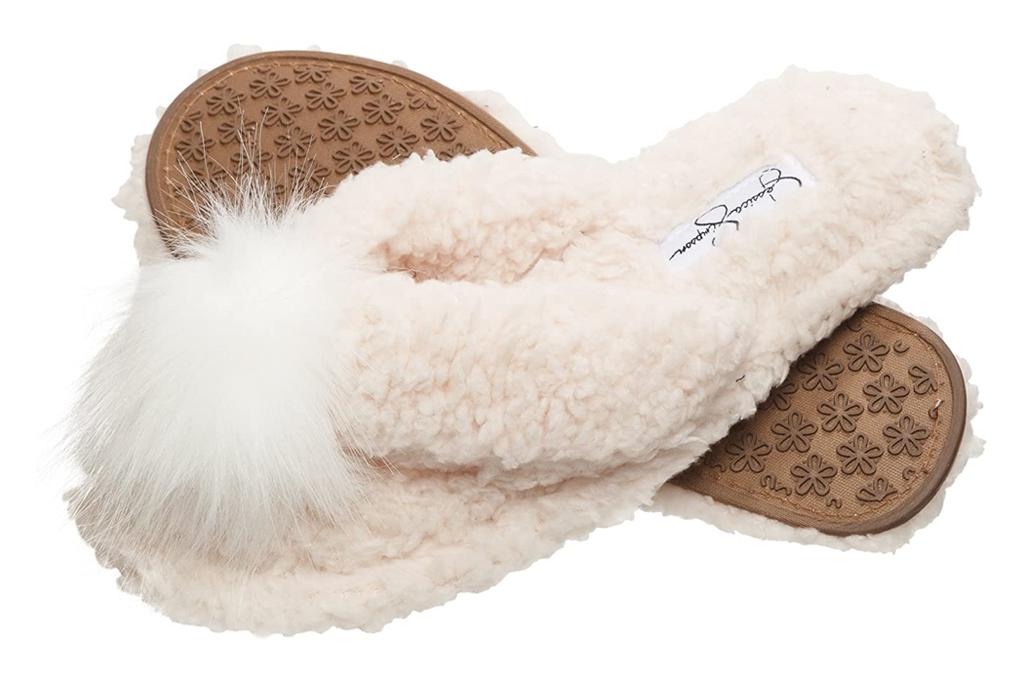 jessica simpson, flip flops, slippers, fuzzy