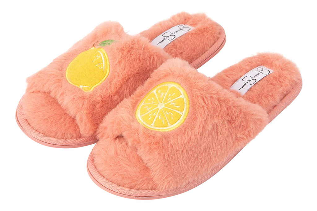 Jessica simpson, slippers, slides, lemon