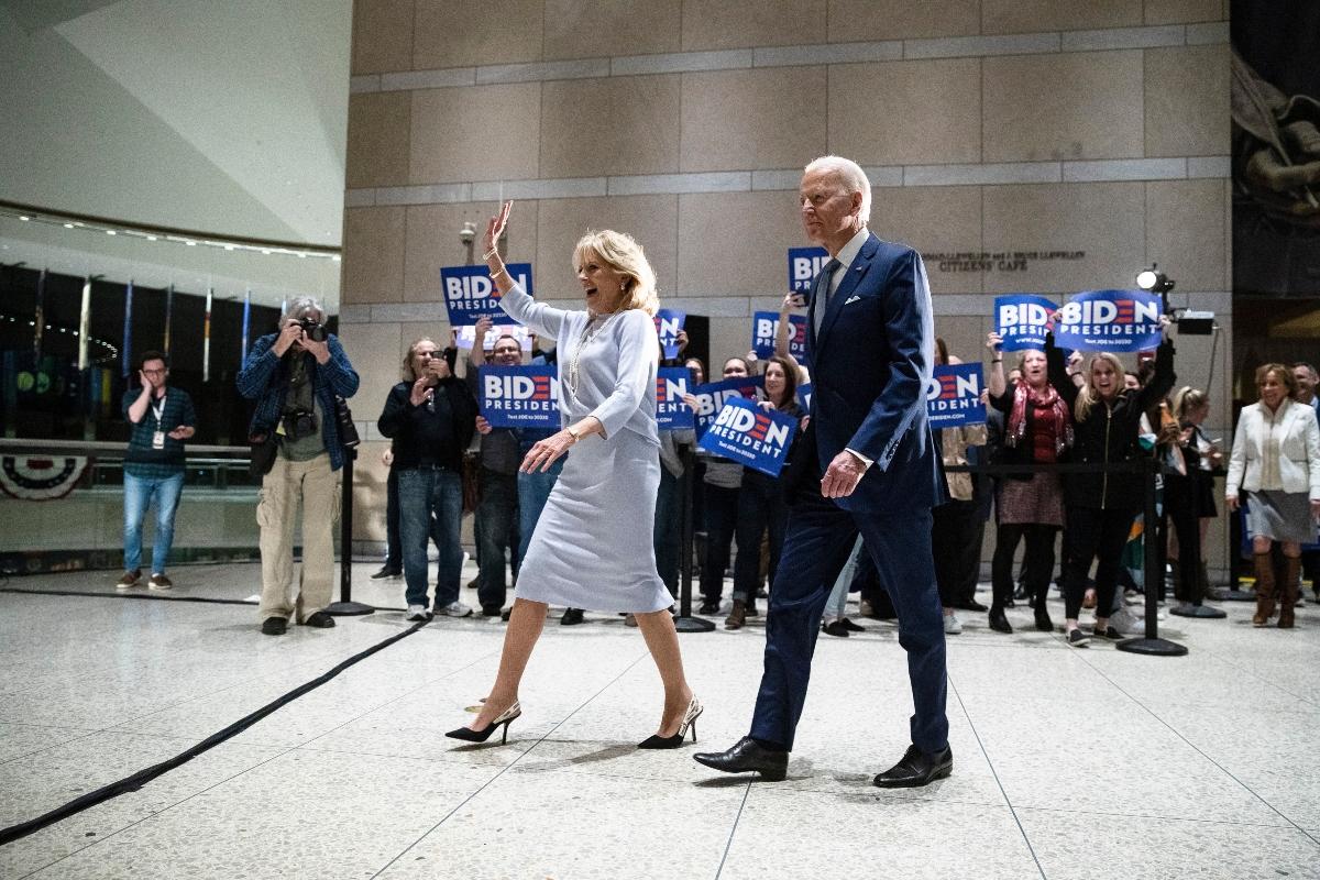 jill biden, joe biden, philadelphia, blue, dior heels, dior, campaign