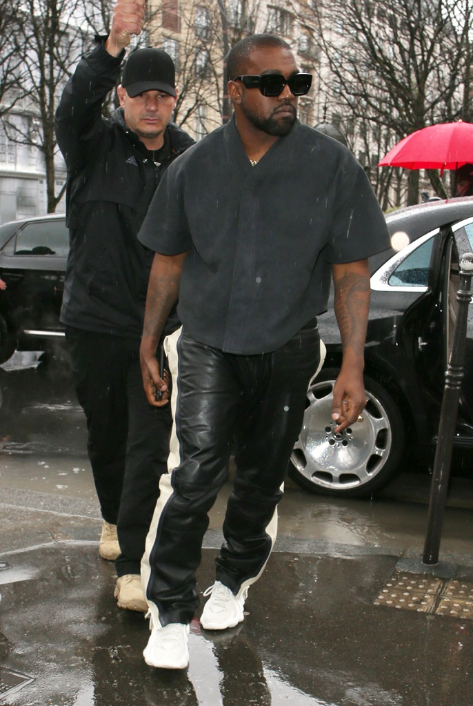 Kanye West, yeezy 451, leather pants, celebrity style, going for lunchKardashians and Kanye West out and West going for lunchKardashians and Kanye West out and about, Paris Fashion Week, France - 01 Mar 2020