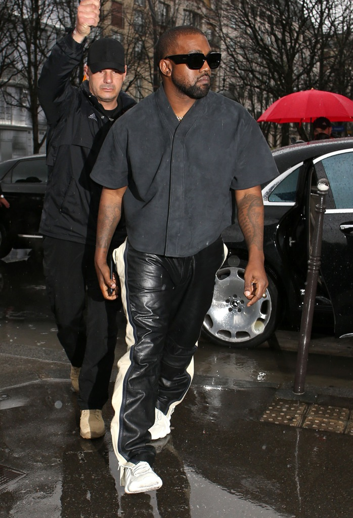 Kanye West, yeezy 451, leather pants, celebrity style, leather pants, going for lunchKardashians and Kanye West out and about, Paris Fashion Week, France - 01 Mar 2020