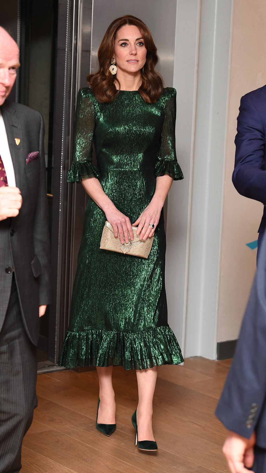 kate middleton, Wilber & Gussie, clutch, The Vampire's Wife dress, green dress, manolo blahnik heels, The Duke and Duchess of Cambridge attend a reception at the Guinness Storehouse's Gravity Bar, hosted by the British Ambassador to Ireland, on the first day of their 3 day visit to Ireland, in Dublin, Ireland, on the 3rd March 2020. 03 Mar 2020 Pictured: The Duke and Duchess of Cambridge attend a reception at the Guinness Storehouse's Gravity Bar, hosted by the British Ambassador to Ireland, on the first day of their 3 day visit to Ireland, in Dublin, Ireland, on the 3rd March 2020. Photo credit: James Whatling / MEGA TheMegaAgency.com +1 888 505 6342 (Mega Agency TagID: MEGA623438_001.jpg) [Photo via Mega Agency]
