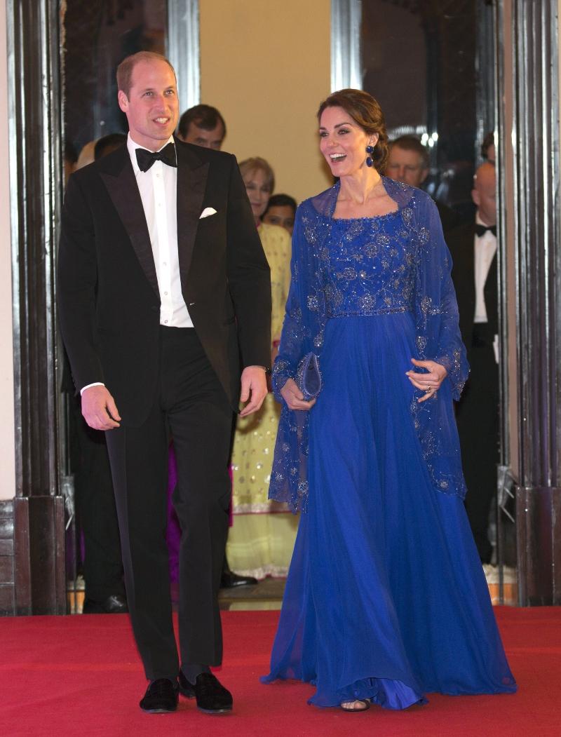 prince william, kate middleton, india, jenny packham, blue