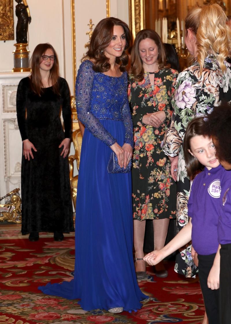 kate middleton, Place2Be, blue dress, glittering heels, jenny packham