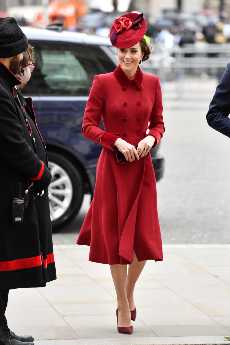 kate middleton, red, commonwealth day, suede heels, hat, london
