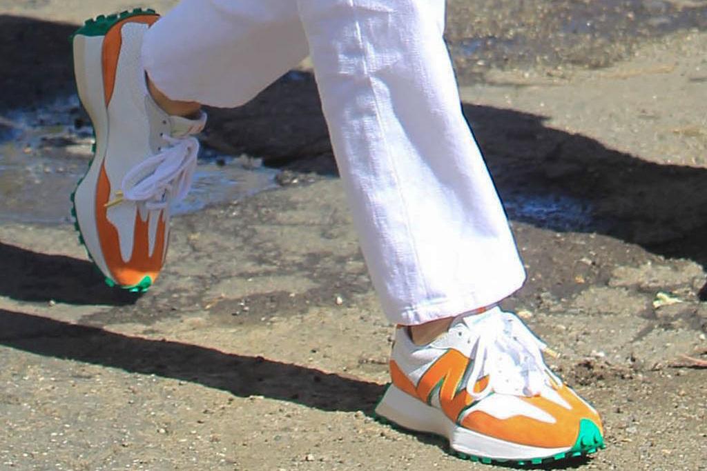 kendall jenner, white shirt, underboob, pants, white, sneakers, new balance, casablanca, green, orange