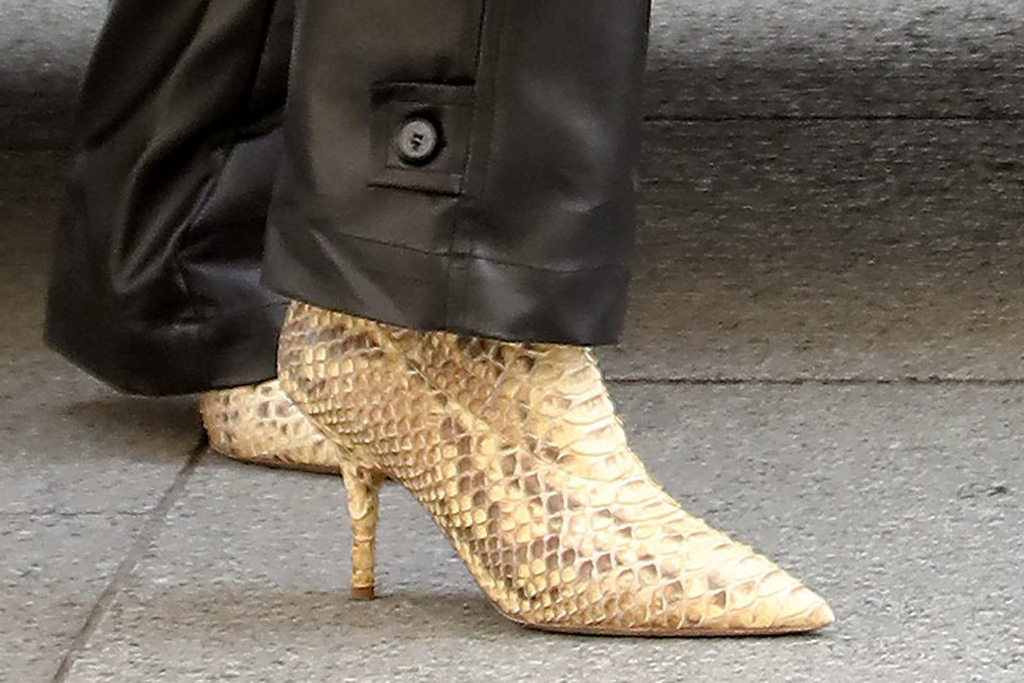 Kim Kardashian, yeezy boots, python heels, leather pants, paris, pfw, march 2020