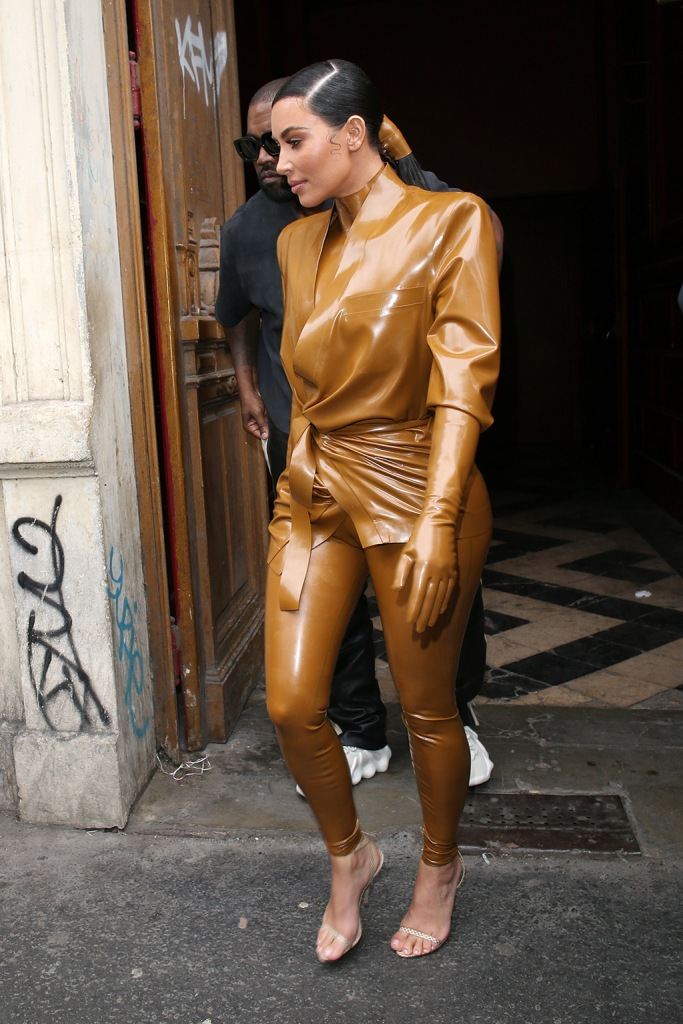 Kim Kardashian , balmain fall 2020, latex outfit, strappy sandals, celebrity style, pfw, West going for lunchKardashians and Kanye West out and about, Paris Fashion Week, France - 01 Mar 2020Kanye West and Kim Kardashian West leaving a Sunday serviceKardashians and Kanye West out and about, Paris Fashion Week, France - 01 Mar 2020 Wearing Balmain Same Outfit as catwalk model *10564689cz