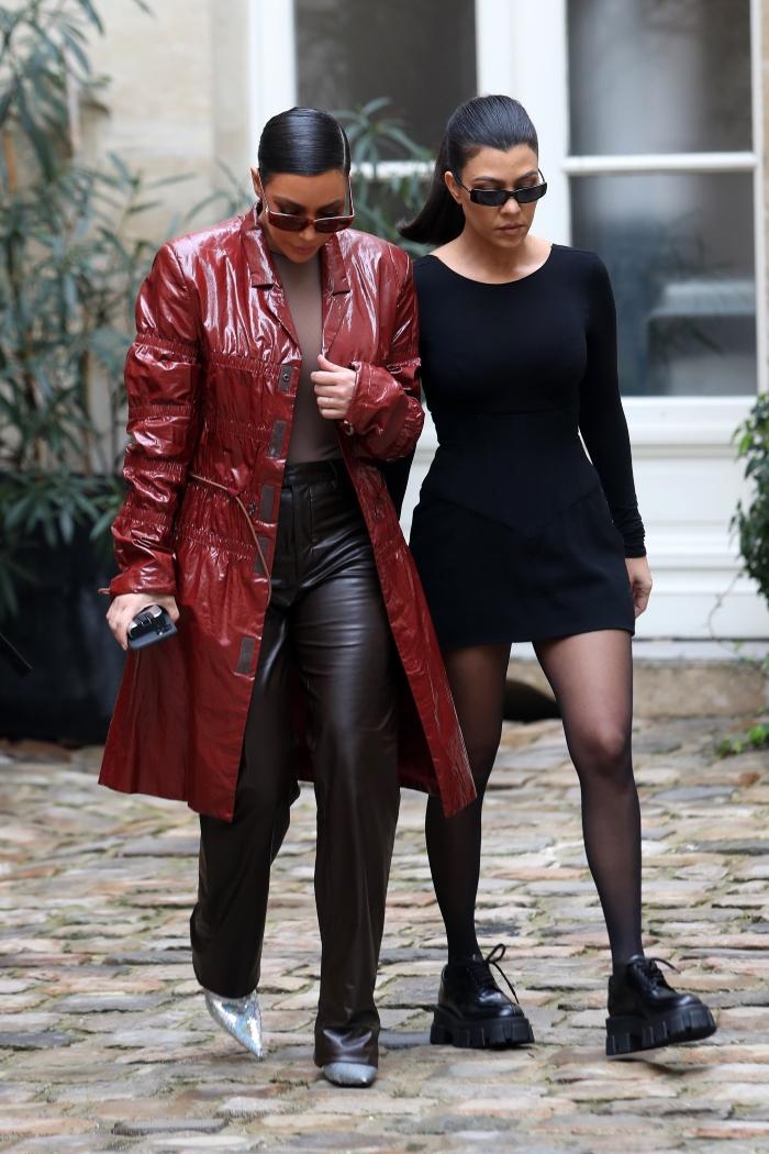 kourtney kardashian, little black dress, black, prada, brogues, shoes, paris, kim kardashian, balenciaga
