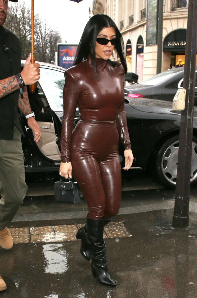 Kourtney Kardashian, fall 2020, balmain, latex outfit, black boots, street style, going for lunchKardashians and Kanye West out and about, Paris Fashion Week, France - 01 Mar 2020