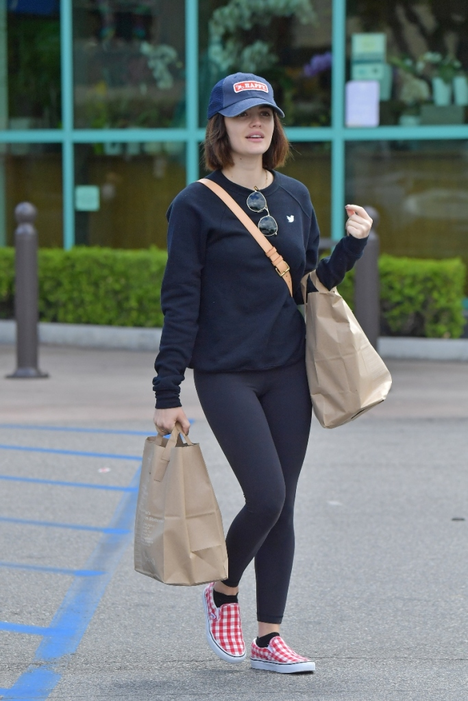 lucy hale, grocery run, los angeles, sweatshirt, leggings, sneakers, checkerboard, red, vans