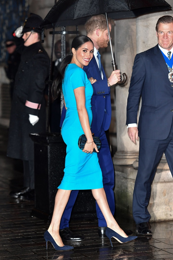 Meghan markle, victoria beckham dress, blue dress, manolo blahnik heels, manolo blahnik bb pumps, celebrity style, Duchess of Sussex and Prince Harry4th Endeavour Fund Awards, Mansion House, London, UK - 05 Mar 2020The Duke and Duchess of Sussex attend the annual Endeavour Fund Awards. Their Royal Highnesses celebrate the achievements of wounded, injured and sick servicemen and women who have taken part in remarkable sporting and adventure challenges over the last year. The Endeavour Fund supports the ambitions of these men and women to use challenges to help with their physical, psychological and social recovery and rehabilitation. The annual awards, now in their fourth year, brings together hundreds of wounded, injured and sick Service personnel and veterans as well as their families, friends and supporters of the military community. The awards ceremony, which will be hosted by former Invictus Games medallist JJ Chalmers, will see four prizes awarded on the night: Recognising Achievement Award, Celebrating Excellence Award, Henry Worsley Award and The Community Impact Award, a brand-new award for this year