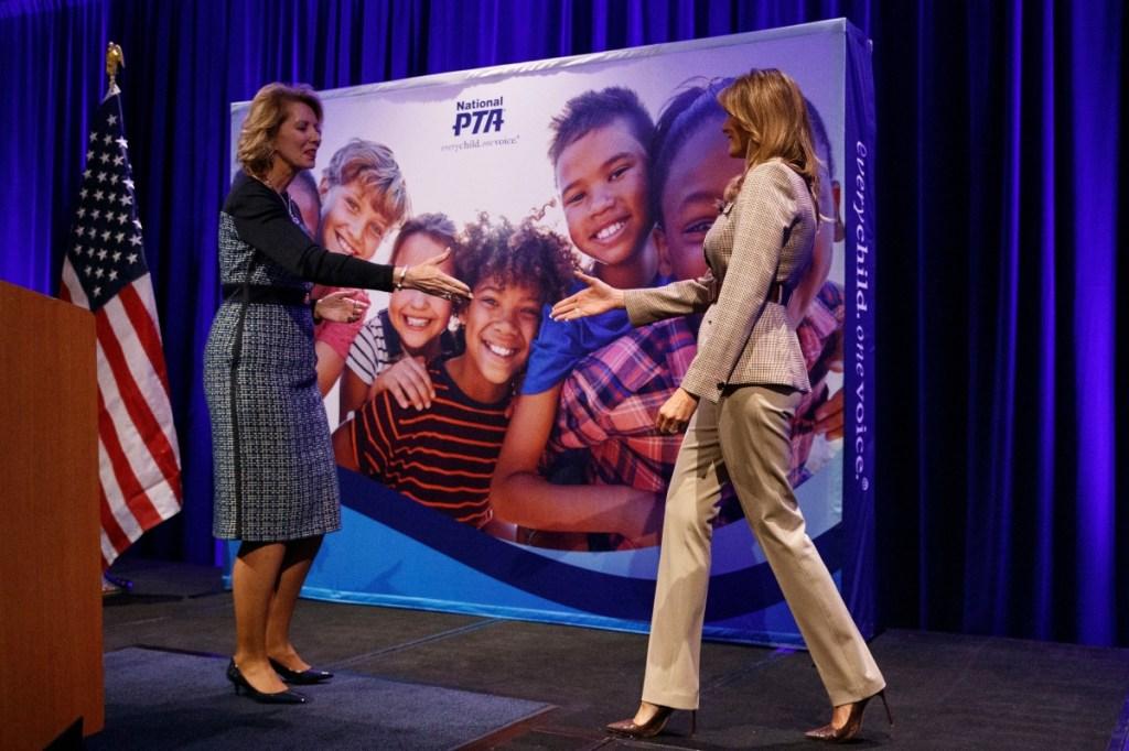 melania trump, plaid, heels, National PTA Legislative Conference in Alexandria, Va, pta