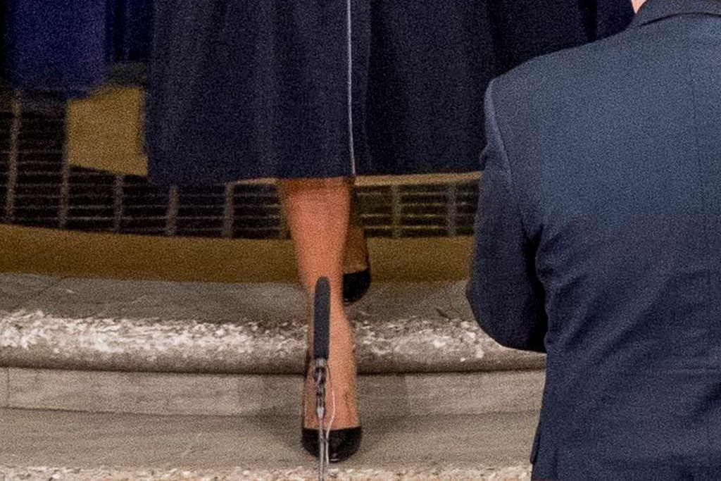 melania trump, navy, at the Justice Department's National Opioid Summit at the Department of Justice, in Washington, dc, black heels
