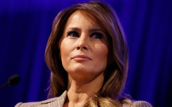 First lady Melania Trump pauses as