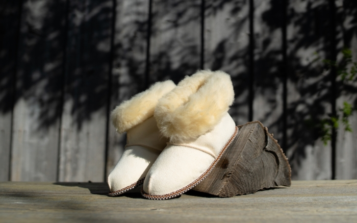 Traditional lamb and sheep wool and fur winter slippers for inside the house. Keep your feet warm and cozy during the freezing cold season; Shutterstock ID 1603102747; Usage (Print, Web, Both): Web; Issue Date: 2/3
