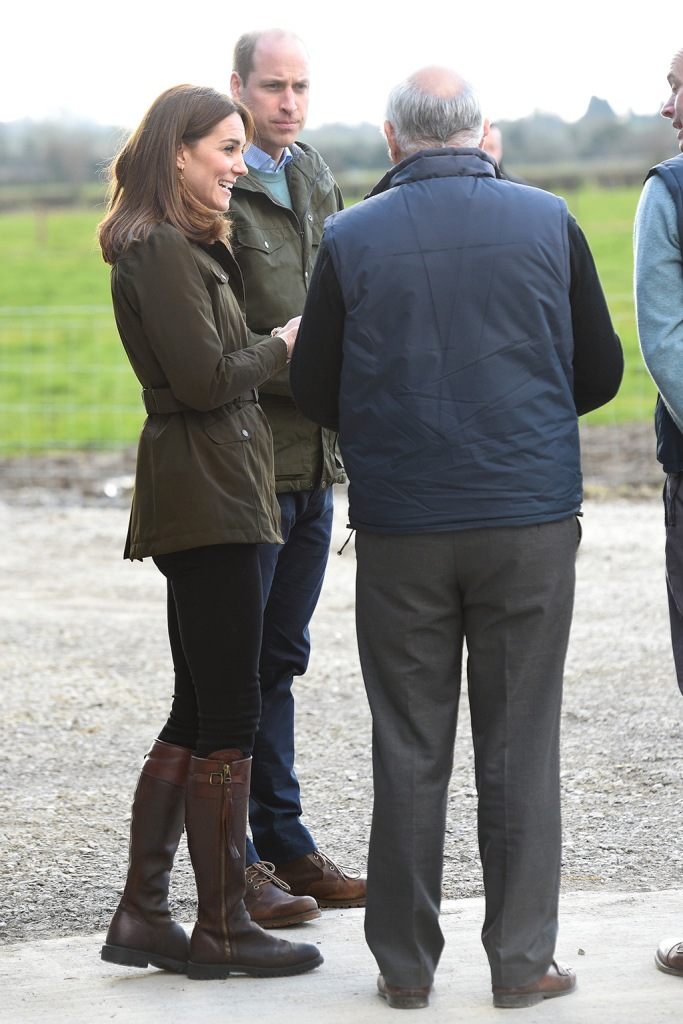 kate middleton, green jacket, penelope chilvers boots, brown boots, skinny jeans, celebrity style, royal fashion, The Duke and Duchess of Cambridge visit Teagasc Research Farm in County Meath to hear about their pioneering research to promote sustainable farming across Ireland. They will speak to a group of farmers who have implemented the research into their own practices. Their Royal Highnesses will then meet a group of primary school children visiting the farm, and will join a session as they learn about the environment, nutrition, and food production.Pictured: Catherine,Duchess of Cambridge,Prince William,Duke of CambridgeRef: SPL5153979 040320 NON-EXCLUSIVEPicture by: SplashNews.comSplash News and PicturesLos Angeles: 310-821-2666New York: 212-619-2666London: +44 (0)20 7644 7656Berlin: +49 175 3764 166photodesk@splashnews.comWorld Rights