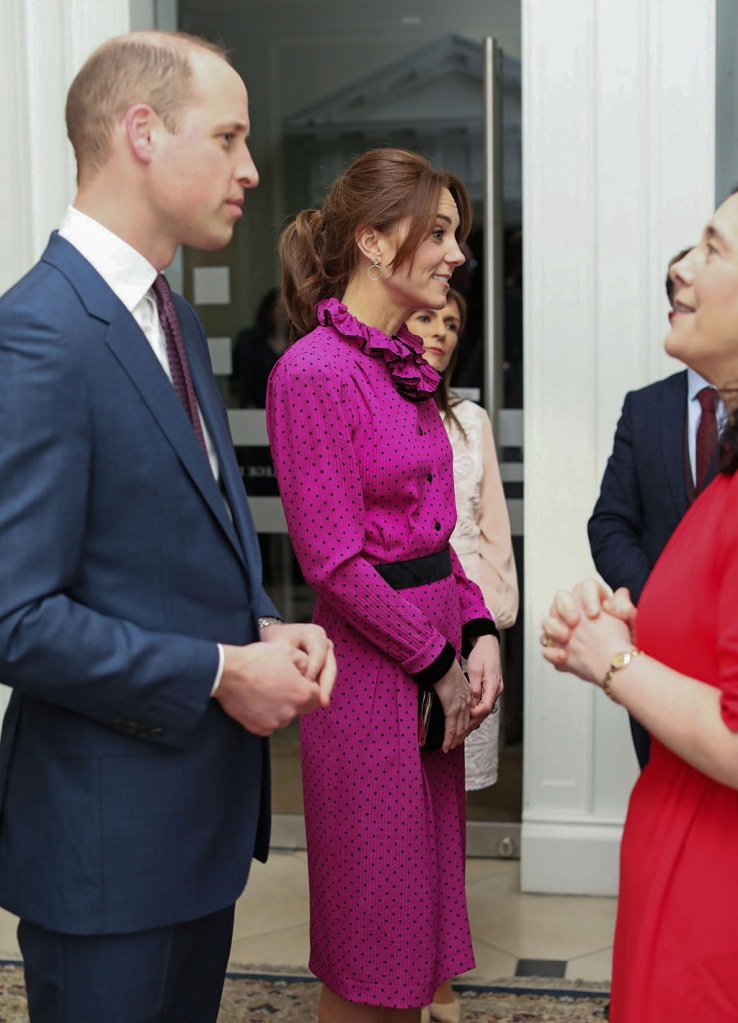 kate middleton, vintage dress, oscar de la renta, fuchsia dress, classic black pumps, Prince William and Catherine Duchess of Cambridge attend an event at the Museum of LiteraturePrince William and Catherine Duchess of Cambridge visit to Ireland - 04 Mar 2020