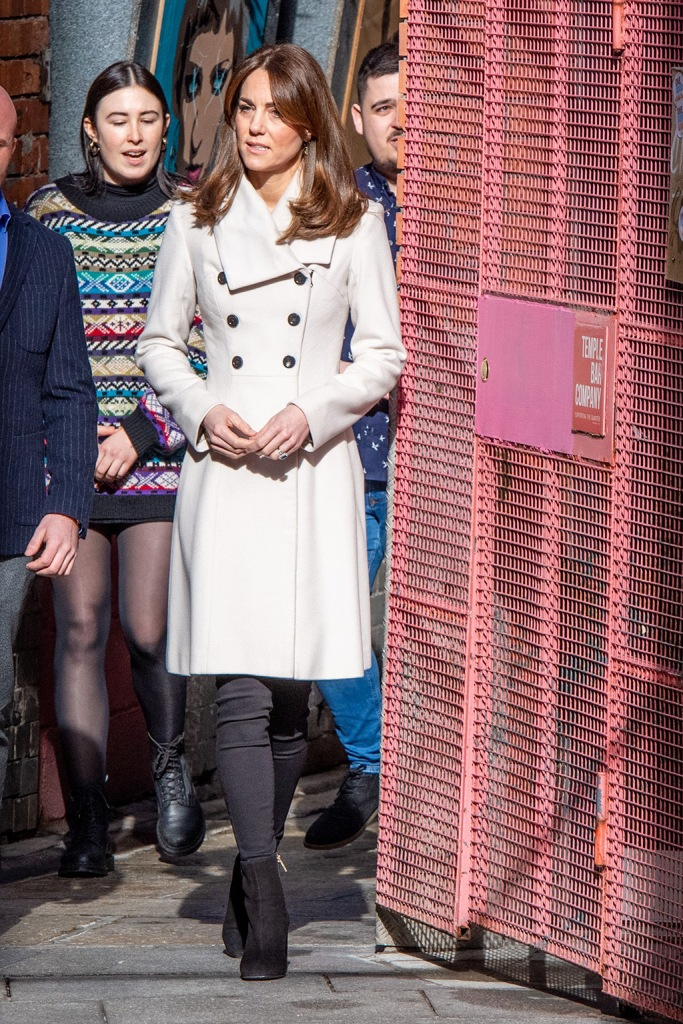 kate middleton, reiss coat, white coat, skinny jeans, russell and bromley boots, black ankle boots, celebrity style, royal fashion, daniella draper earrings, Catherine Duchess of Cambridge visits mental health charity JigsawPrince William and Catherine Duchess of Cambridge visit to Ireland - 04 Mar 2020