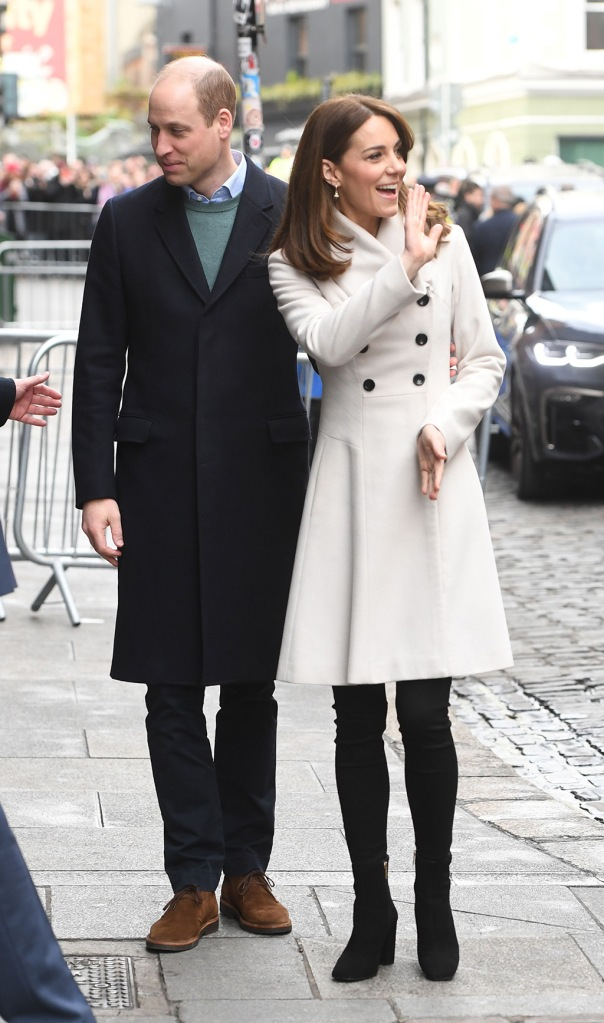 kate middleton, reiss coat, white coat, skinny jeans, russell and bromley boots, black ankle boots, celebrity style, royal fashion, daniella draper earrings, Prince William and Catherine Duchess of Cambridge visit Jigsaw a mental health charity in DublinPrince William and Catherine Duchess of Cambridge visit to Ireland - 04 Mar 2020