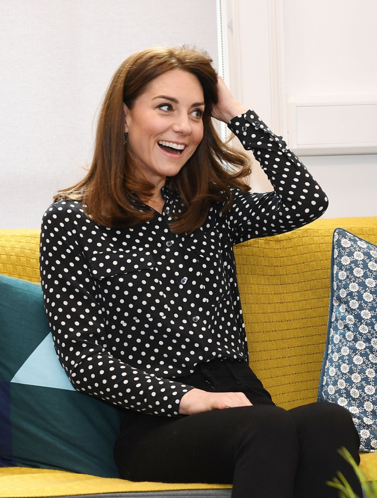 kate middleton, equipment top, black and white polka dot shirt, skinny jeans, Catherine Duchess of Cambridge visits Jigsaw a mental health charity in DublinPrince William and Catherine Duchess of Cambridge visit to Ireland - 04 Mar 2020