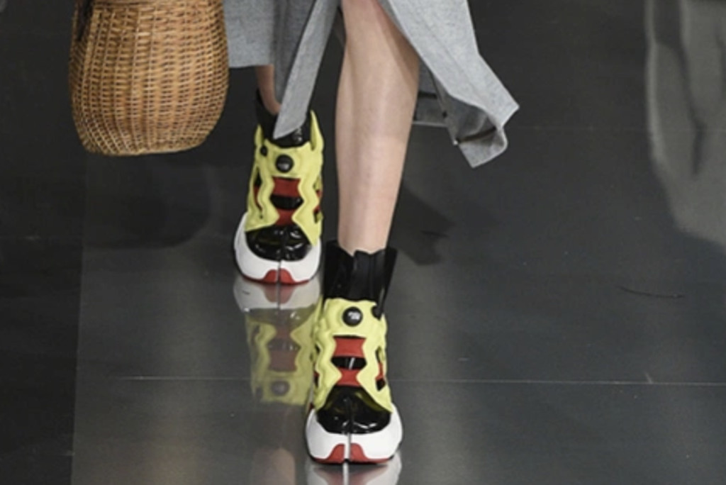 A close-up of Maison Margiela's Fall/Winter '20 Tabi sneaker, pfw, craziest shoes at paris fashion week