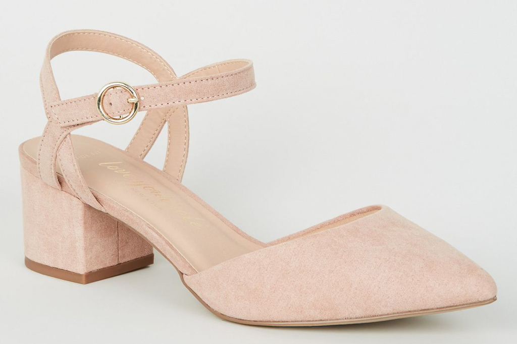 Wide Fit Pale Pink Suedette Low Heel Court Shoes