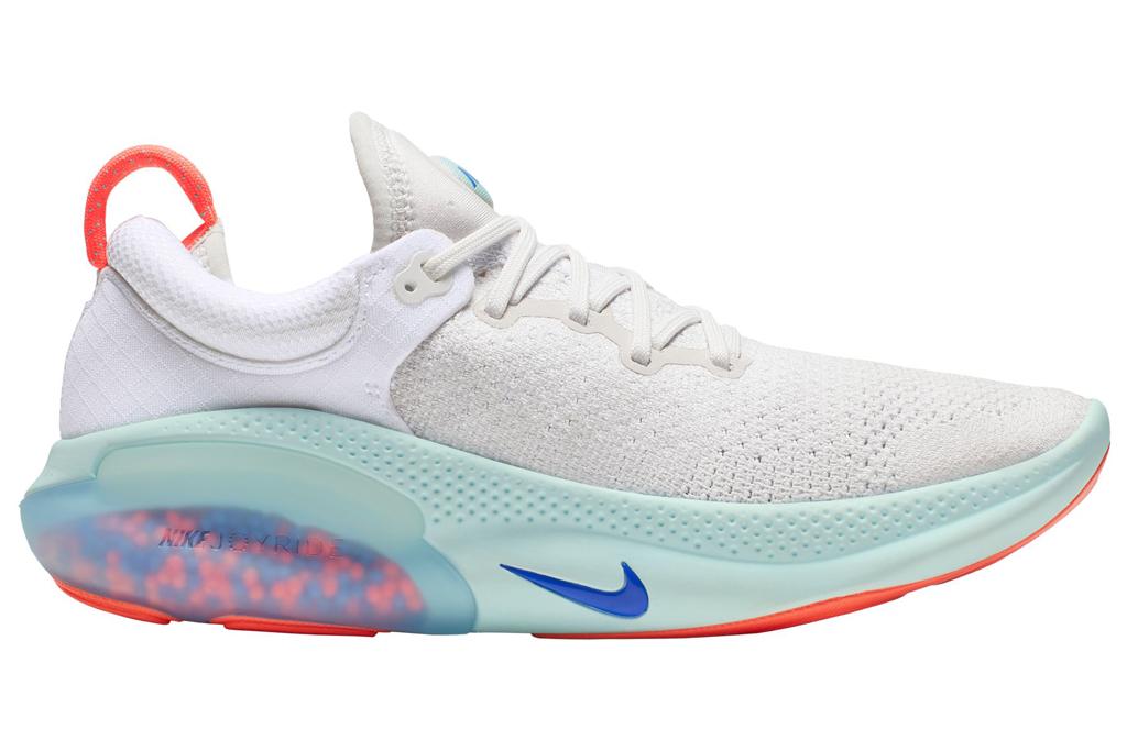 Joyride Run Flyknit Running Shoes, white sneaker, colorful sole, orange sole, blue sole, bottom
