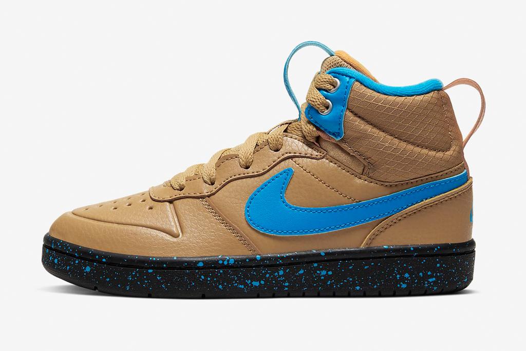 Nike Court Borough Mid 2, kids, blue, tan, sneaker, boot