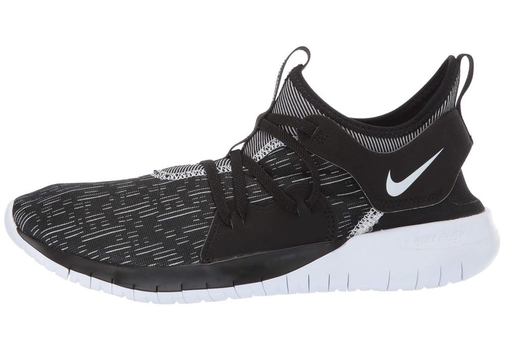 nike, sneakers, black, white, slip on, flex contact 3