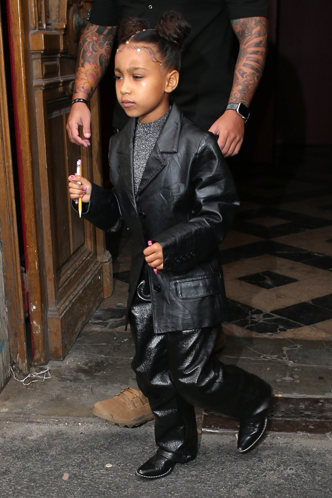 North West, all black outfit, blazer, leather pants, western boots, celebrity style, leaving a Sunday serviceKardashians and Kanye West out and about, Paris Fashion Week, France - 01 Mar 2020