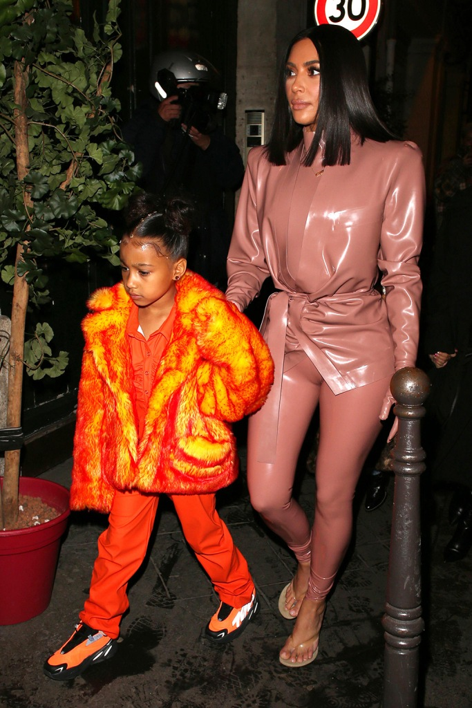 north west, adidas yeezy boost MNVN sneakers, Kim Kardashian West and North WestKim Kardashian and Kourtney Kardashian out and about, Paris Fashion Week, France - 01 Mar 2020
