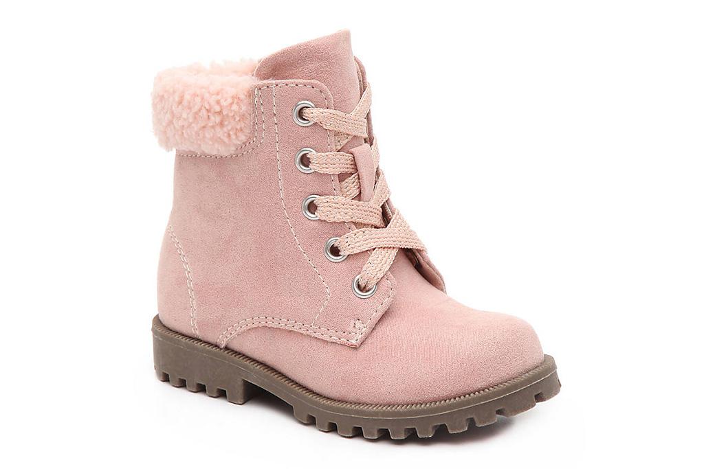 olive & eddie, kids combat boots, pink