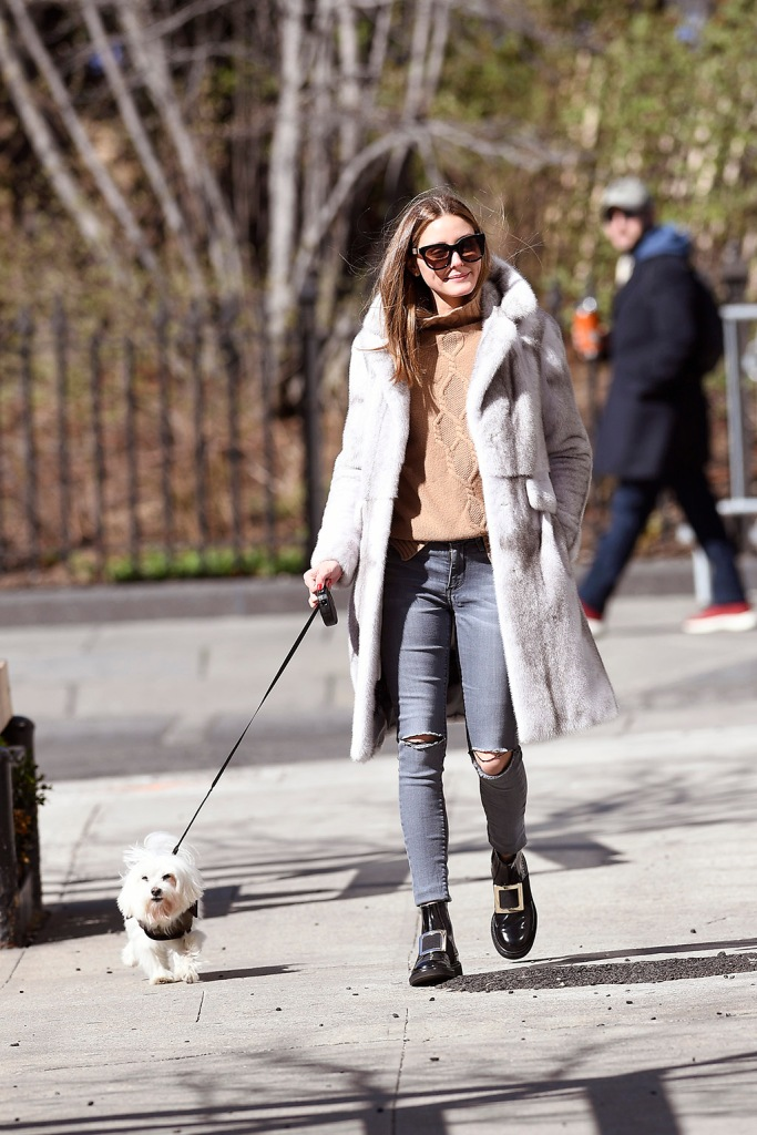 Olivia Palermo , roger vivier boots, skinny jeans, fur coat, sweater, celebrity fashion, street style, Olivia Palermo and her husband walking their dog in dumbo Brooklyn on a New York City lockdown after Governor Andrew Cuomo telling everyone to stay home due to Coronavirus spreadPictured: Olivia Palermo,Johannes HueblRef: SPL5158130 210320 NON-EXCLUSIVEPicture by: Elder Ordonez / SplashNews.comSplash News and PicturesLos Angeles: 310-821-2666New York: 212-619-2666London: +44 (0)20 7644 7656Berlin: +49 175 3764 166photodesk@splashnews.comWorld Rights, No Portugal Rights