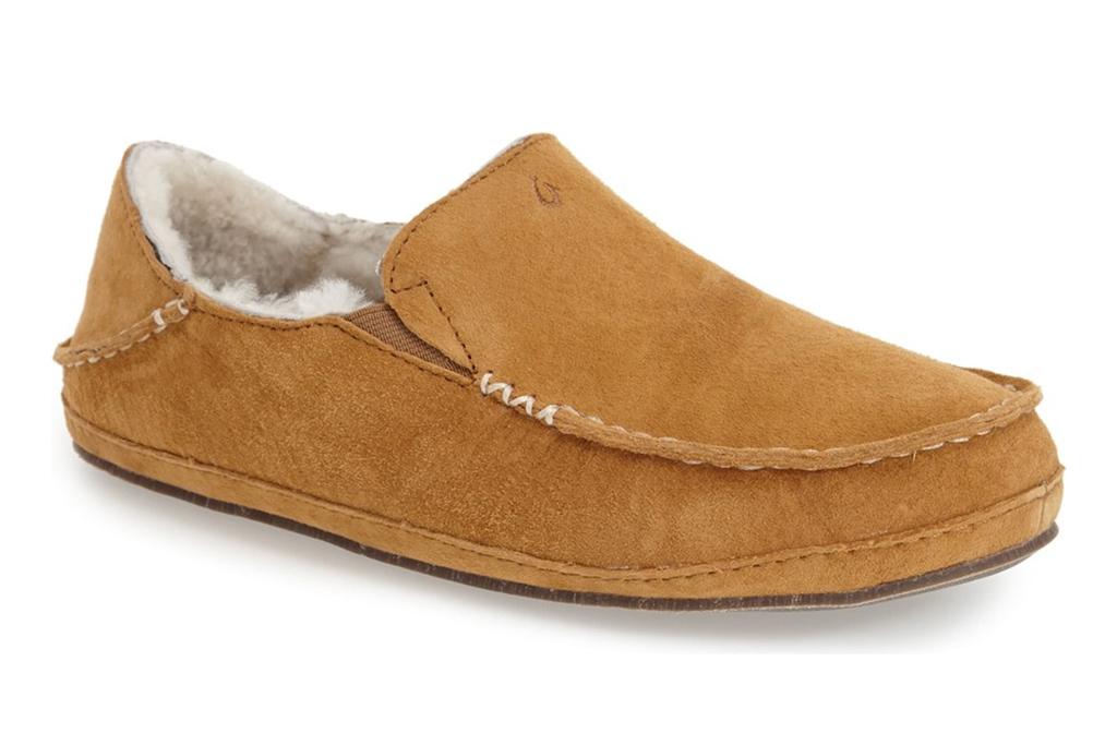 olukai, slippers, brown