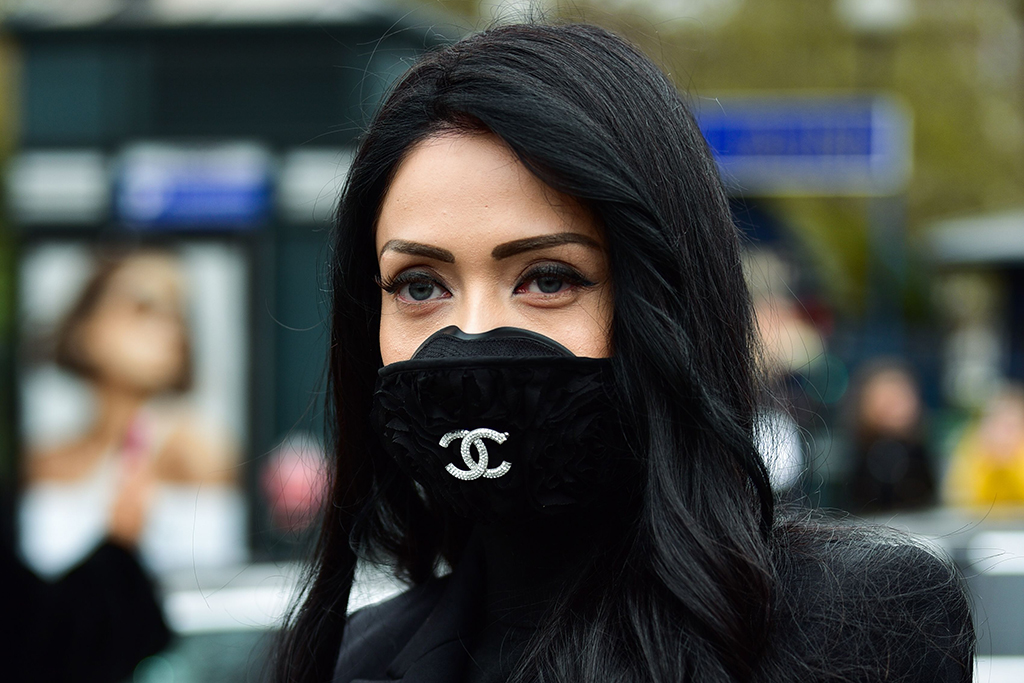 Street style, Chanel Coronavirus mask detailStreet Style, Fall Winter 2020, Paris Fashion Week, France - 28 Feb 2020