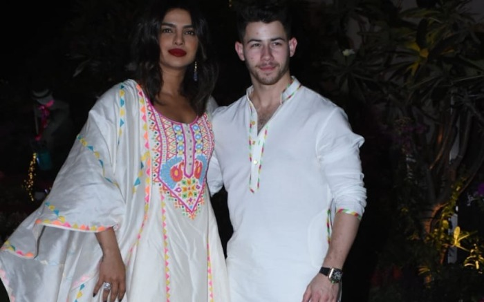 Priyanka Chopra Jonas with her husband Nick Jonas at Isha Ambani's Holi party in Mumbai India. 06 Mar 2020 Pictured: Priyanka Chopra Jonas with her husband Nick Jonas at Isha Ambani's Holi party in Mumbai. Photo credit: Newslions Media / MEGA TheMegaAgency.com +1 888 505 6342 (Mega Agency TagID: MEGA625604_001.jpg) [Photo via Mega Agency]