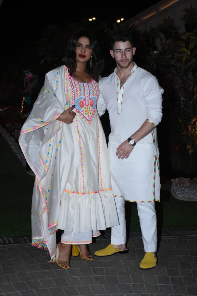 Priyanka Chopra Jonas with her husband Nick Jonas at Isha Ambani's Holi party in Mumbai India. 06 Mar 2020 Pictured: Priyanka Chopra Jonas with her husband Nick Jonas at Isha Ambani's Holi party in Mumbai. Photo credit: Newslions Media / MEGA TheMegaAgency.com +1 888 505 6342 (Mega Agency TagID: MEGA625604_003.jpg) [Photo via Mega Agency]