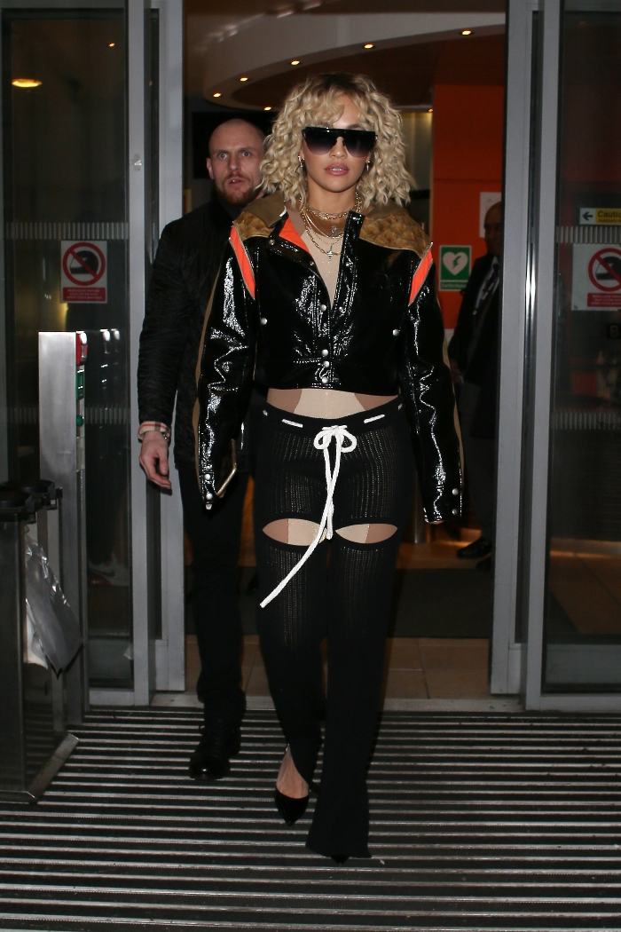 rita ora, bbc, radio, black, leather, courreges, louboutin, pumps