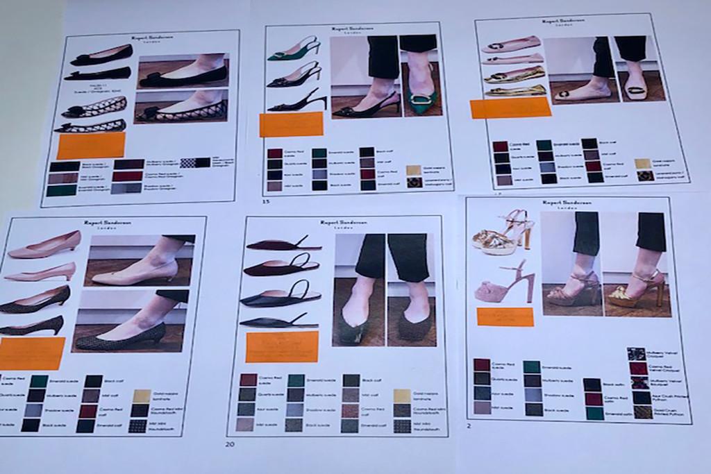 Rupert Sanderson, fall '20 line sheet, virtual showroom
